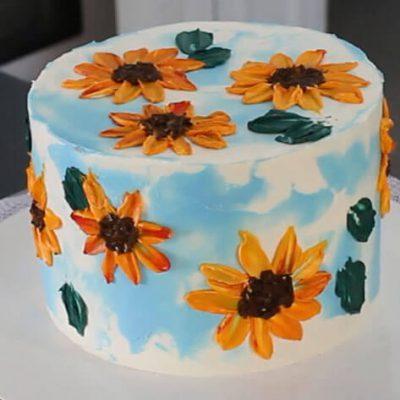 تزیین کیک با باترکریم به شکل گل آفتابگردان